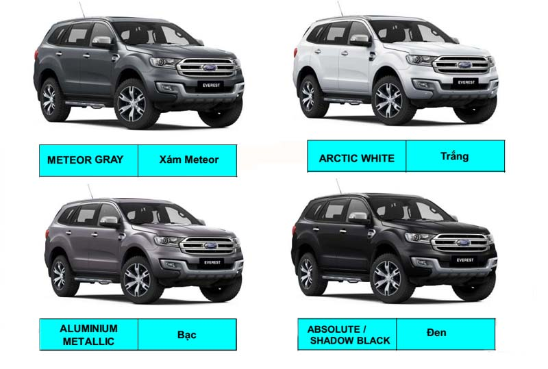 Ford everest 2018 mầu xe